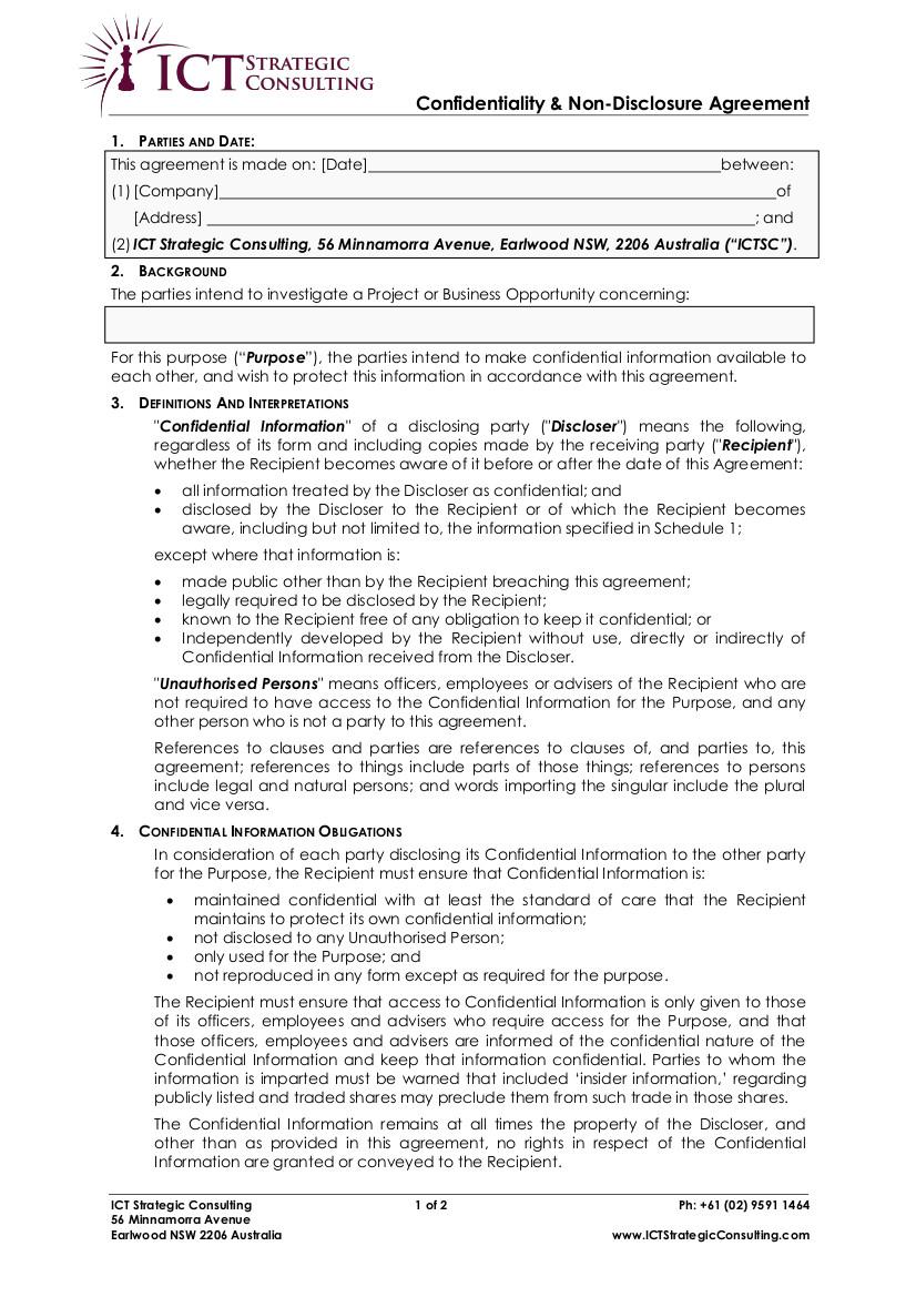 Non Disclosure Agreement General Purpose Ict Strategic